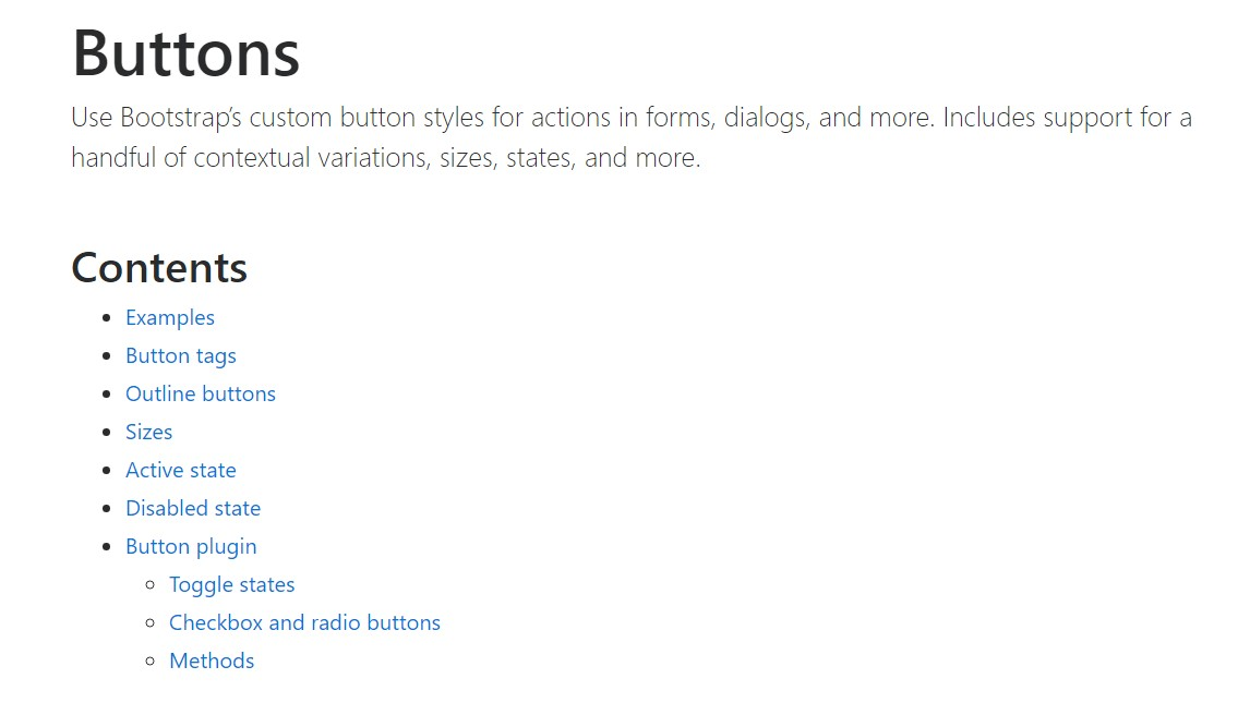 Bootstrap buttons  main  information