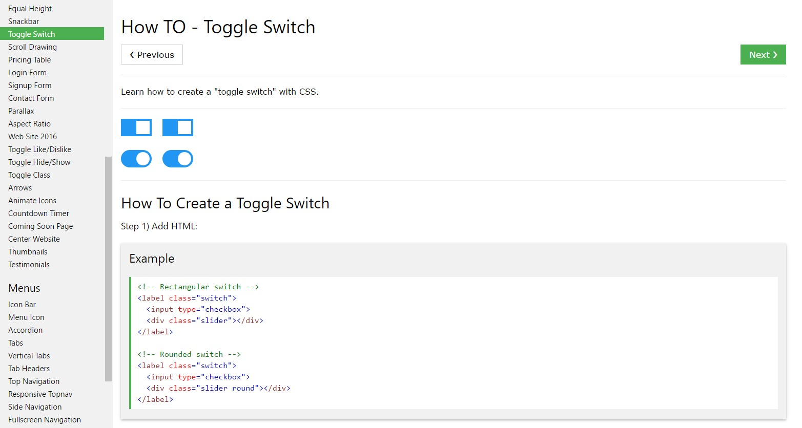 The ways to  set up Toggle Switch