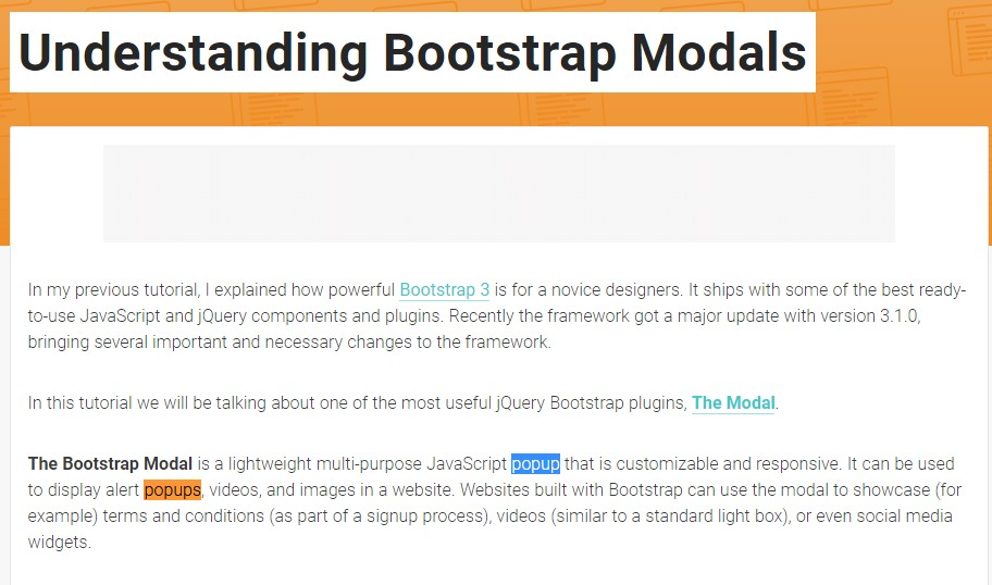 An additional  practical  information about Bootstrap Modal Popup