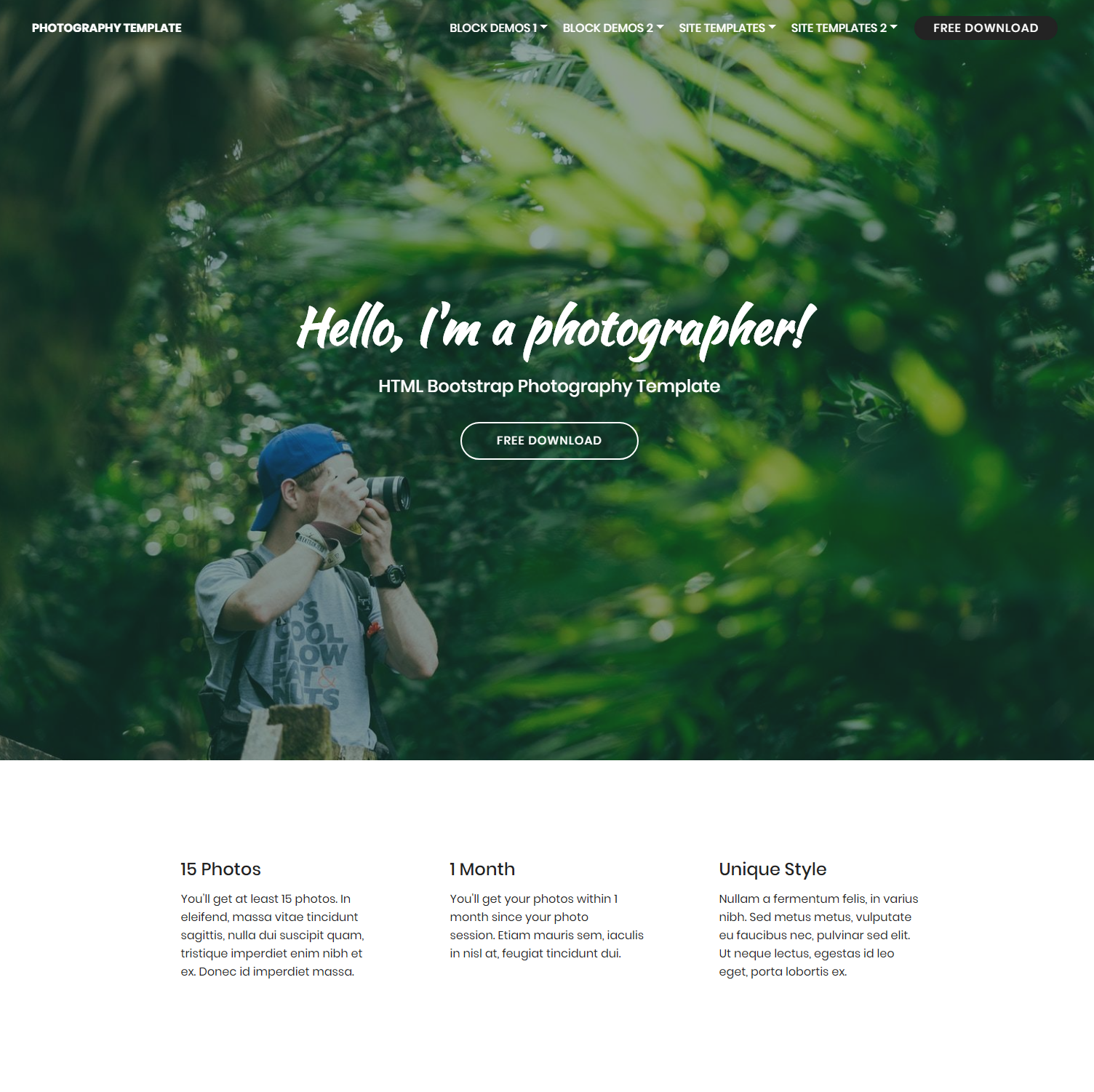 HTML Bootstrap Photography Templates